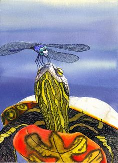 Turtle Painting - Painted Turtle And Dragonfly by Catherine G McElroy
