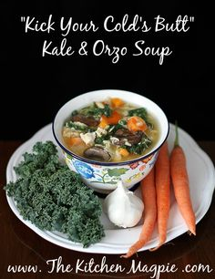Kick Your Cold's Butt Kale and Orzo soup. This soup is  a powerhouse full of immunity boosting foods AND it's seriously delicious! From @kitchenmagpie