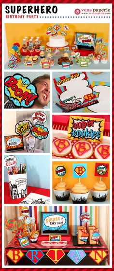 Superhero Birthday Party Package Personalized FULL Collection Set - PRINTABLE DIY - PS825x. $35.00, via Etsy.