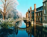 The Wooden Bridge in winter - view from Silver Street bridge. Cambridge, England