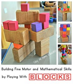 Building fine motor and mathematical skills by building with blocks - Stay At Home Educator