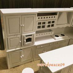 Casa de Muñecas Miniatura Blanco Cocina Integrada conjunto de muebles 1:12 Modelo A Escala