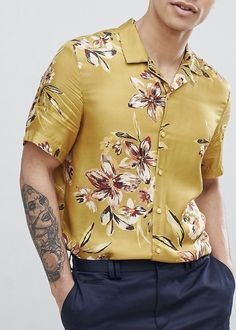 On my wishlist : River Island Revere Collar Shirt With Floral Print In Mustard from ASOS #ad #men #fashion #shopping #outfit #inspiration #style #streetstyle #fall #winter #spring #summer #clothes #accessories