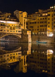 Ponte Vecchio and Arno River at Night in Florence, Tuscany, Italy