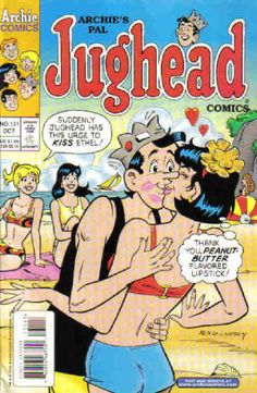 "Archie's Pals 'n' Gals Archie's Pals 'n' Gals,Riverdale Archie's best pal Jughead started out hating women, but on occasion has been depicted as a ""lover boy,"" generally due to a hit on the head. Archie Comics Characters, Archie Comic Books, Old Comic Books, Vintage Comic Books, Vintage Comics, Comic Book Covers, Jughead Comics, Archie Betty And Veronica, Archie Comics Riverdale"