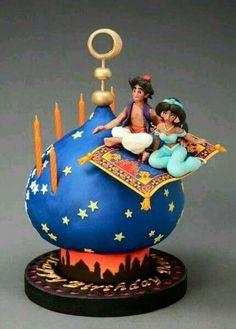 Aladin Gorgeous Cakes, Pretty Cakes, Cute Cakes, Amazing Cakes, Crazy Cakes, Fancy Cakes, Fondant Cakes, Cupcake Cakes, Aladdin Cake