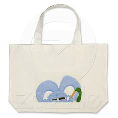 Tote Bag with the image of Aqua the bunny with sleepy eyes.  $20.95