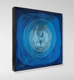 tableau design abstrait - une spirale qui enchante en quatre nuances de bleu