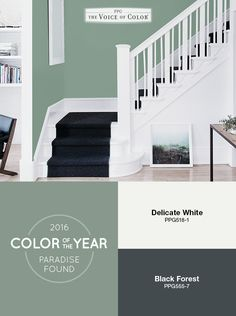 The PPG Voice of Color®, 2016 Paint Color of the Year Paradise Found is a soothing green paint color with a very slight undertone of blue. This aloe green hue represents the ease and rejuvenation one feels in nature. It is organic and alive while being a subtle and soft backdrop.