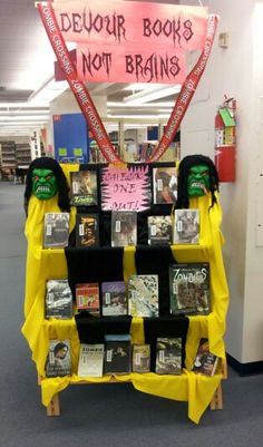 Zombie book display- I like the title but not so much the execution.