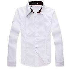 Men's Shirt Collar Solid Color Basic Long Sleeve Shirt