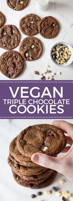Vegan Triple Chocolate Chip Cookies Vegane dreifache Schokoladenkekse Mehr All Things Vegan (Visited 1 times, 1 visits today) Brownie Desserts, Desserts Keto, Dessert Oreo, Coconut Dessert, Mini Desserts, Appetizer Dessert, Italian Desserts, Healthy Vegan Dessert, Vegan Dessert Recipes