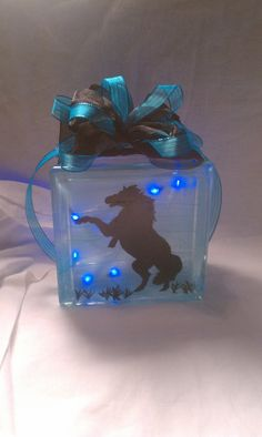Hand Painted Glass Block Silhouette of Horse