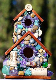 Church shaped mosaic stone birdhouse