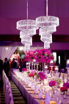 4 Tier Crystal Pendant Lighting Diamond Chandelier - Diameter x Long Wedding Table Centerpieces, Flower Centerpieces, Wedding Decorations, Quince Decorations, Bridal Table, Centerpiece Decorations, Wedding Themes, Birthday Decorations, Purple Wedding