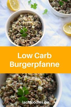Hier findest du das Low Carb Rezept für eine Hackfleischpfanne mit Blumenkohl, Zitrone und Kräutern. Die Burgerpfanne haben wir so genannt, da sie an einen Burger ohne Brötchen erinnert. Ein gesundes Rezept, low carb, glutenfrei und laktosefrei. Hackfleisch Rezept schnell mit Blumenkohl. Gemüserezept für jeden Tag. Gesund kochen im Alltag.    #gesundkochen #lowcarb How To Dry Basil, Herbs, Fit, Sweet, Recipes, Gluten Free Recipes, Cauliflowers, Lemon, Candy