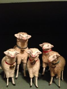 flock of putz sheep Antique Christmas, Christmas Past, Rustic Christmas, Christmas Ornaments, Primitive Sheep, Give Me Five, Baa Baa Black Sheep, Sheep And Lamb, Counting Sheep