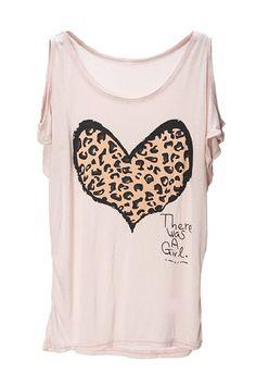 Pink Cutout Shoulder Leopard Heart Printed Loose Top