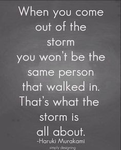 The storms you face will change you. Never forget the lessons that life teaches you.