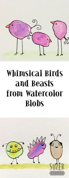 Whimsical Watercolor Birds Turn watercolor blobs into birds (or beasts) with just a few quick strokes of a black pen. An easy, happy craft for all skill levels. Watercolor Art Lessons, Watercolor Projects, Pen And Watercolor, Watercolor Trees, Watercolour Tutorials, Watercolor Animals, Watercolor Paintings, Simple Watercolor, Watercolor Landscape