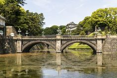 Japonsko, park, Tokio, most, stromy, voda, zeleň, krása