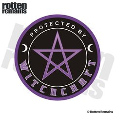 Protected by Witchcraft Magic Purple Pentacle Sticker Decal