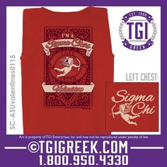 TGI Greek - Sigma Chi - Valentines party - Greek T-shirt #tgigreek #sigmachi #valentines