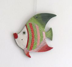 Handmade Ceramic Fish Decorative wall by ceramicsartdaniel on Etsy
