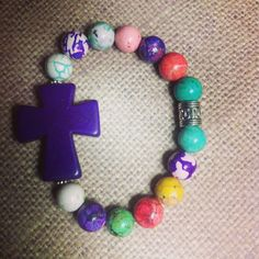 Purple Howlite Cross Bracelet by tiffanybeads on Etsy, $7.00