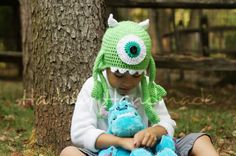 Monster Mike crocheted character hat all ages by HadalyHandmade, $25.00