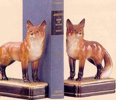 Fox Japanese Ceramic Bookends