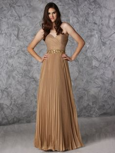 Long Pleated Strapless Dress