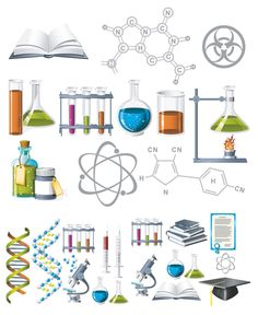 Stock Illustration of Science and Chemistry Icons - Search Clip Art, Drawings, Fine Art Prints, Illustrations, and Vector EPS Graphics Images - Science Tools, Science Fair Projects, Science Resources, Science Education, Science Activities, Science And Technology, Science Ideas, Science Experiments, High School Chemistry