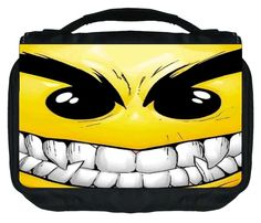Rosie Parker TM Small Travel Sized Hanging Cosmetic/Toiletry Case with 3 Compartments and Detachable Hanger-Made in the U.S.A.- Evil Smiley *** You can find more details by visiting the image link.