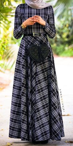 Annah Hariri Plaid Print Maxi Dress