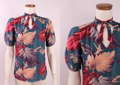 Vintage - 70s Glam You Babes - 40s Style - Blue & Burgundy Red Leaf Palm Print - Tie Collar - Pleated Shoulders Sleeves - Blouse Top Shirt by starlingdarlin on Etsy