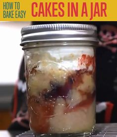 One of the easiest cake recipe ideas I've ever tried! Single-serving mason jars cakes are baked right in the jar itself! Easy DIY cake in a mason jar.