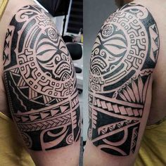 polynesian tattoo on shoulder