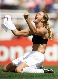 When the US women's soccer team won the Word Cup in it was thanks to Brandi Chastain. She scored the winning goal on a penalty kick and promptly ripped Us Soccer, Play Soccer, Morgan Soccer, Soccer Tips, Nike Soccer, Soccer Cleats, Soccer Socks, Soccer Skills, Soccer Ball
