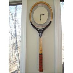 This handcrafted tennis racquet mirror clock is unique, one-of-a-kind piece. Assembled by a rare tennis racquet collector, this vintage racquet evokes memories of a simpler game, one where finesse played large on the court. #LoveTennisLiveTennis ($118)