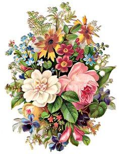 Glanzbilder - Victorian Die Cut - Victorian Scrap - Tube Victorienne - Glansbilleder - Plaatjes : Rosenstrauß und andere Blumen