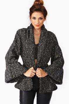 """Vintage 1970s Norma Kamali Black Wool Kimono - $628 - """"Amazing vintage Norma Kamali textured wool kimono-style jacke featuring a fitted, peplum-style waist and exaggerated bell sleeves."""""""