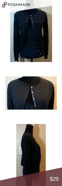 "Sundance Catalog Women's Black Button Down L/S Nice pre-owned, Sundance, Black, Button Down, Long Sleeve, 100% Cotton Sweater, Size Large.  Pit to pit - 17.5"" Shoulder to bottom - 21.5""  Smoke and pet free home  (O) Sundance Sweaters Cardigans"