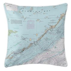 FL: Islamorada, FL Nautical Chart Pillow