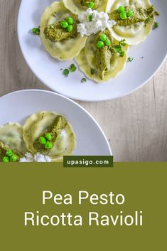 Pea-Pesto Ricotta Ravioli from upasigo.com #upasigo  #upasigofood #peas #pesto #ravioli #ricotta #cheese #pea #vegetarian #vegetarianlife #vegetarianrecipes #recipe #easy #quick #vitamix #instantpot #vegan #vegetables #frozen #freezer Ricotta Ravioli, Spinach Ravioli, Vegetarian Cheese, Vegetarian Recipes, Good Food, Vegan, Dinner, Vegetables