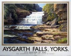 Aysgarth Falls, Yorks, England.  English Railway Travel Poster Print by LNER Railways. By E.W. Haslehust.