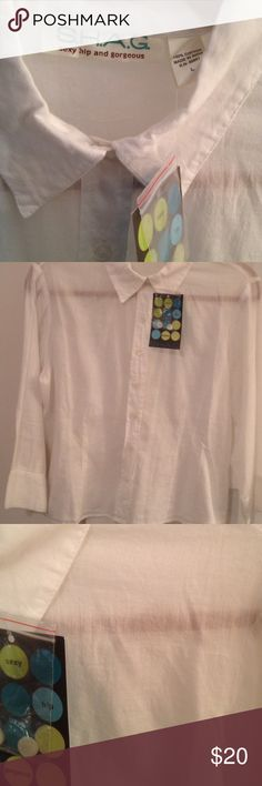 S.H.A.G. Sexy Hip And Gorgeous blouse NWT L White sheer SHAG SEXY HIP AND GORGEOUS blouse summer weight cotton size large NWT from Charleston's King Street sexy hip and gorgeous Tops Blouses