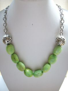 Apple Green Semi Precious Stones with Large by DesignsbyPattiLynn, $50.00