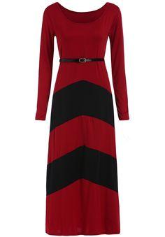 Wine Red Black Long Sleeve Striped Maxi Dress