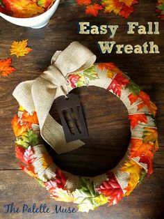 Easy Fall Wreath - No gluing or sewing, and goes together in minutes! ThePaletteMuse.com